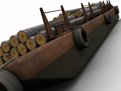 Barge Trunks Cargo 3d Model river sea water shalow boat flat towing tugboat shipping trunk concept design concept art 3dsmax 3d art model 3d cargo trunks barge