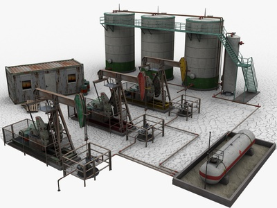 Oil Field 3d Models 3dsmax 3d art 3d container rig oilrig drilling gas refinery pipeline pipe fuel storage tank pump pumpjack well oil field field oil