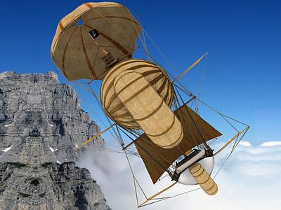 Flying Ship sky sail sailboat fantasy art fantasy airballoon clouds cloud fly sky sea 3d 3d art 3dsmax art concept fantase concept design boat ship flying