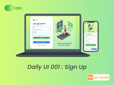 Sign Up Screen - Calo - Calorie Tracker App ui