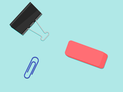 Office Stuff paper clip binder clip office supplies illustration vector eraser