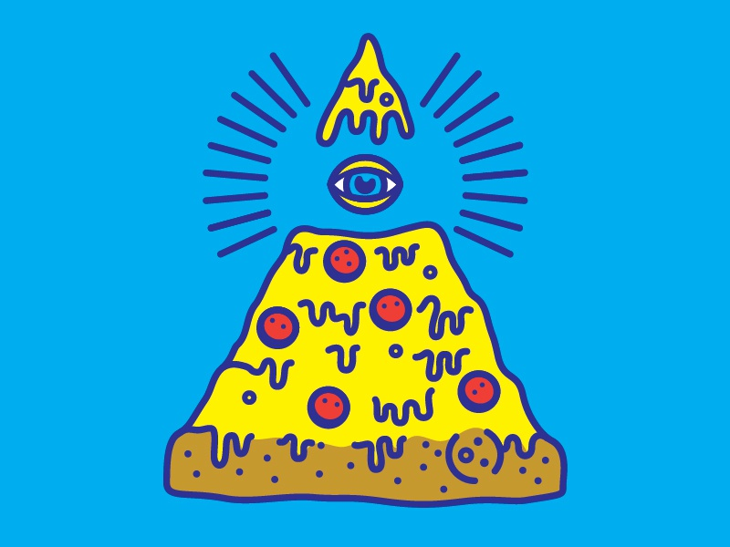 ALLSEEINGPIZZA illustration vector cheesy pizza