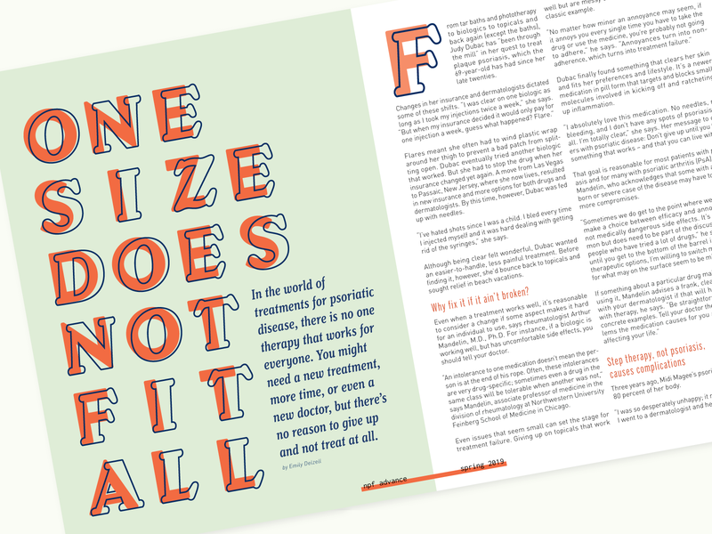 One Size Does Not Fit All magazine header layout editorial design type