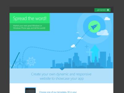 App Marketing Template cloud clouds web windows city rocket wizard marketing illustration splash screen landing page