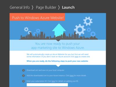 App Marketing Template - upload screen windows launch web cloud gears city city scape upload
