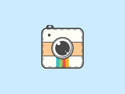 Camera Icon photography photo web graphics flat rainbow instagram identity app logo camera icon