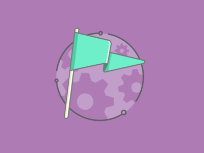 Campaign Settings Icon illustration icon purple gear flat graphic flag settings