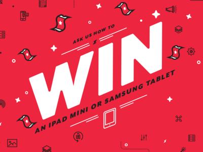 Raffle Draw Poster  illustrator tech red flat line art tablet