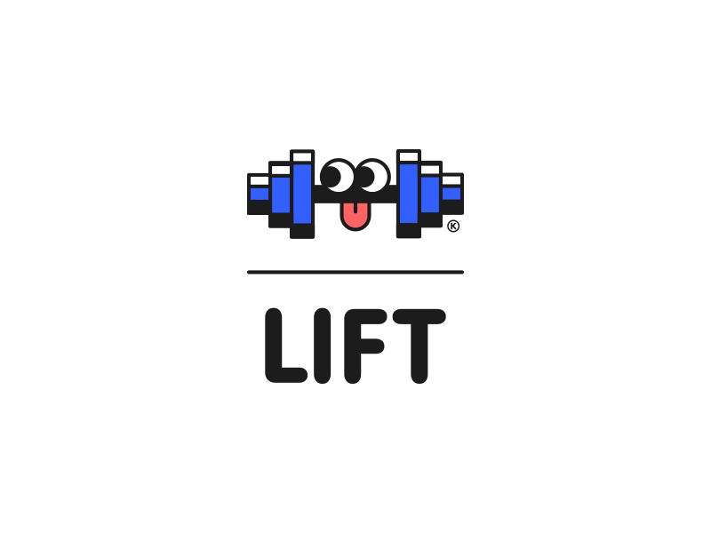 Liftdri fresh cool lifting lift gym logo happy cute color brand illustration