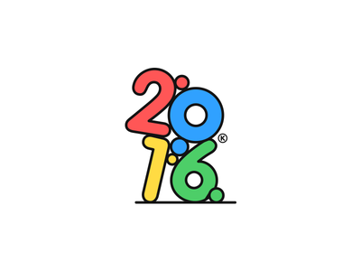 HAPPY NEW 2016! gravity minimal happy clean numbers color cute illustration 2016 happynewyear