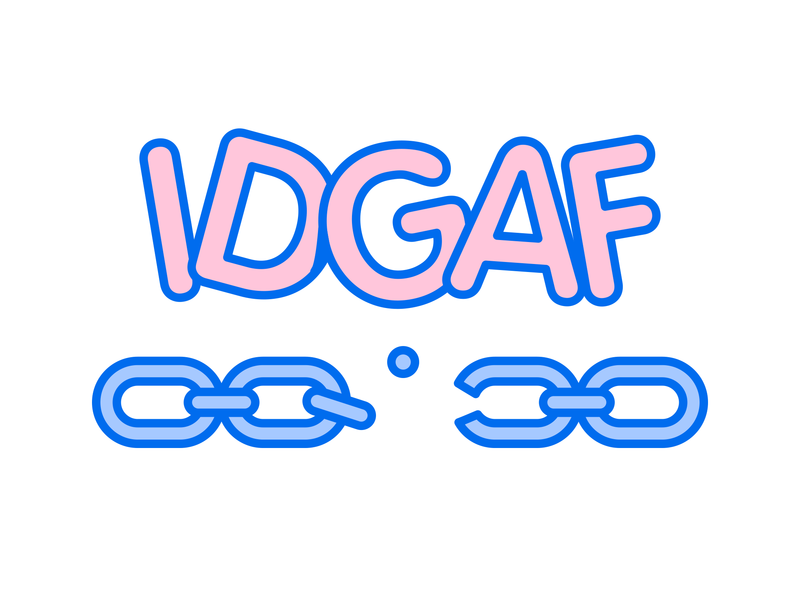 IDGAF® Chain T-Shirt! logo happy goods character apparel clean kikillo clothing fashion color cute streetwear illustration