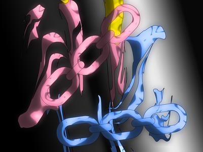 melting chains crop anime clean art chains kikillo fashion color streetwear cute illustration