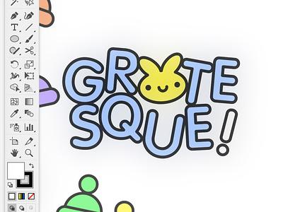 GROTESQUE! character design kikillo grotesque clean kawaii fonts cute illustration