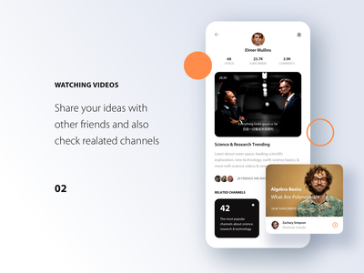 Streaming News App. community social media channel orange dark play music streaming search message gallery video ui profile clean mobile app