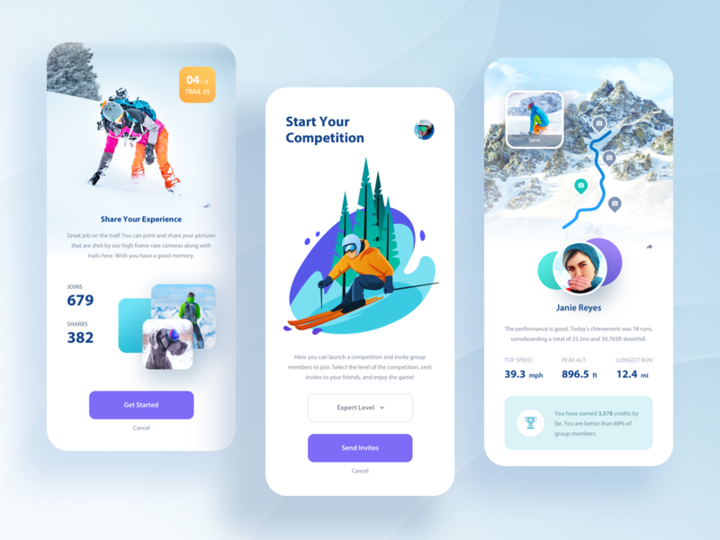 Ski & Snowboard App. illustration sport ski gallery profile ui clean app