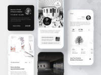 Museum Guide & Tour App. tour guide picture ar map art gallery museum card white black price details profile ui clean mobile app