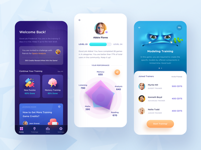 Brain Training App. level analysis purple game contest chart 3d study learning training message details profile ui list clean mobile app
