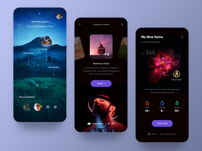 VR Collection Game App. animal flower dark vr game search gallery details profile ui clean mobile app