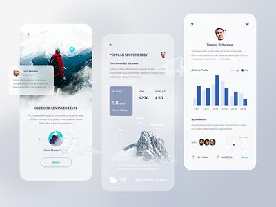 Climber Contest App. weather guide map ux ui travel sport share data adventure message details profile clean mobile app