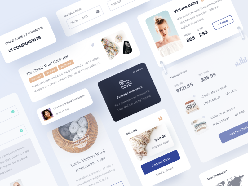 E-commerice UI Components web shopping style component widget kit ux card ecommerce shop map search gallery video message details profile ui clean app