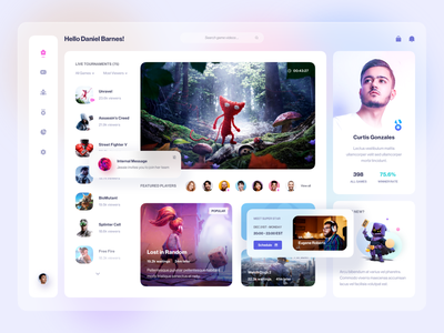 Game Live Streaming Platform store player news live show stream play game shop search gallery video message details profile list clean ui dashboard