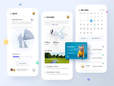 Dog Walker App. friend social share schedule time sport notification calendar ar animal chart map message details profile list ui mobile clean app