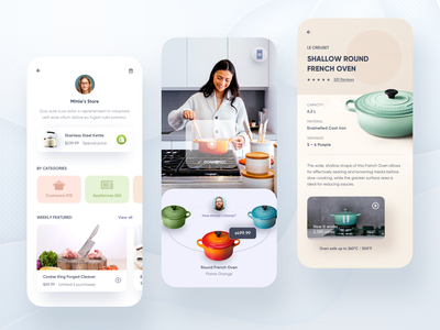 Mobile Shopping App. app design mobile design mobile ui vr ar food kitchen ecommerce store shopify shopping shop mobile app price search video details profile mobile app