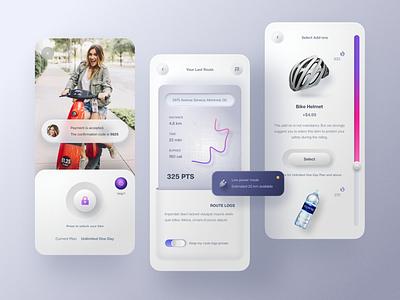 Electric Bike Rental App. mobile design sport route price texture shopping shop bike map mobile ui app design mobile app message ui clean mobile app