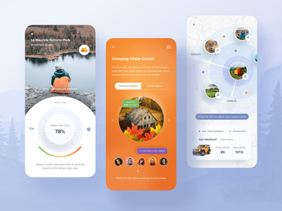 Camping App. sport view pin camping plant app design mobile design house orange journey map location travel design ui clean mobile app
