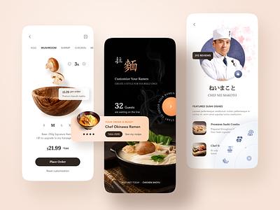 Order Customized Ramen App. ecommerce shop order customized japanese japan orage food app mobile design app design delivery food design details list profile ui clean mobile app
