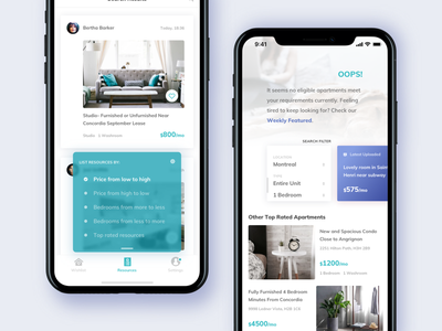 Condo Rental App. - Search Results app ios 11 condo house search filter clean mobile price alert message rental