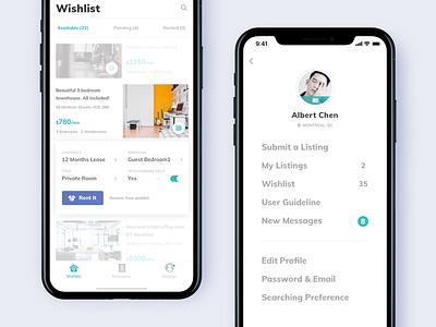 Condo Rental App. - Wishlist & Menu setting clean app menu review rental house list price wishlist ios 11 condo