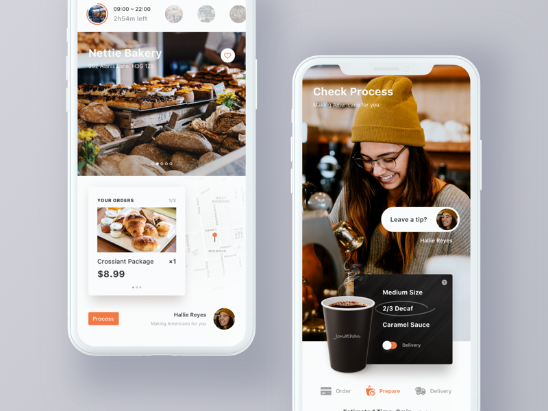Fast food order & delivery card check app map time process payment order delivery restaurant food hiwow