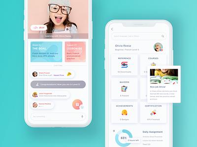 Online language learning app. chart list chat option menu video search live study profile hiwow app