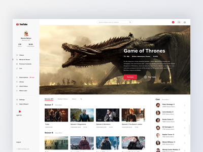 Youtube concept design - media content landing media movie tv show layout about app details menu profile list youtube web video hiwow