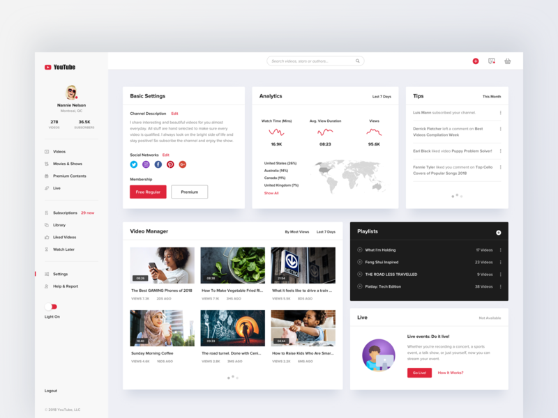 Youtube concept design - dashboard analysis map card information list chart clean ui web dashboard video hiwow youtube
