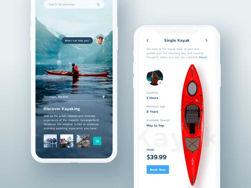 Discover kayaking location message chat gallery search contact ui description list price hiwow travelling mobile app