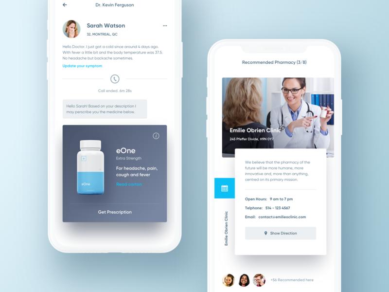 Online family doctor app. medical chat ui review list location profile description mobile clean card hiwow app