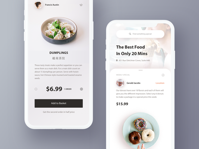 Find food nearby shop ui details profile account check out popup panel hiwow search price order food mobile app