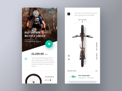 Bicycle store app. store price popup design shop video ui details mobile app