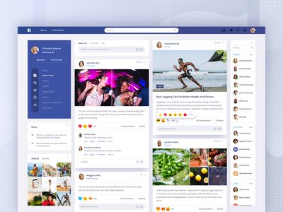 Facebook Concept - Home friends community social video news gallery post feed message contact app web profile ui clean facebook