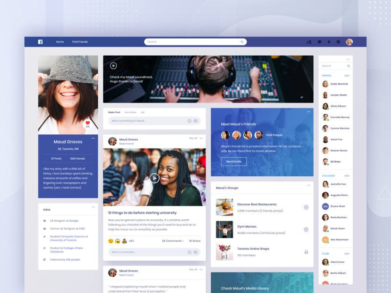 Facebook Concept - Profile facebook news message ui social music post profile list website web card contact feed video community clean app