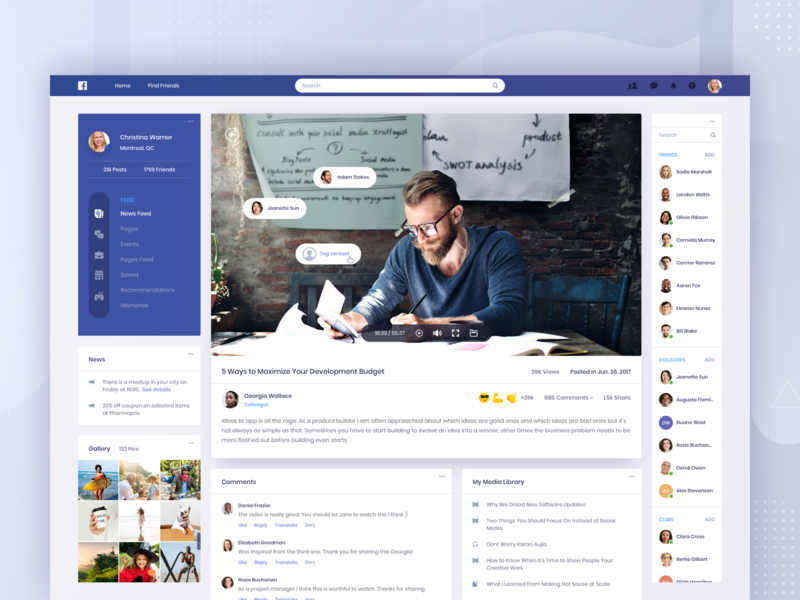 Facebook Concept - Media community clean app post video music ui library news gallery player dashboard profile contact comment media social facebook web website