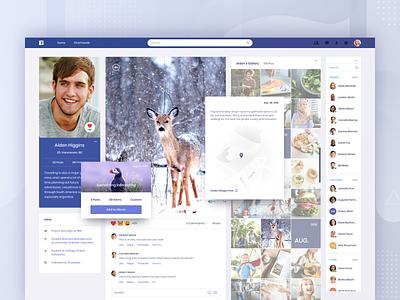 Facebook Concept - Gallery web clean app review comment contact list profile photo album photo image picture map gallery social website ui facebook