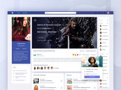 Facebook Concept - Event search feed web app community dashboard contact list profile clean website ui social event facebook