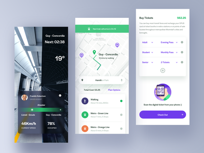 Metro Info App. search list step design route plan map mobile ui information ticket car metro subway traffic clean app