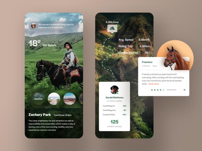 Riding club app. info card infomation weather message map ar description design list profile gallery clean ui app mobile