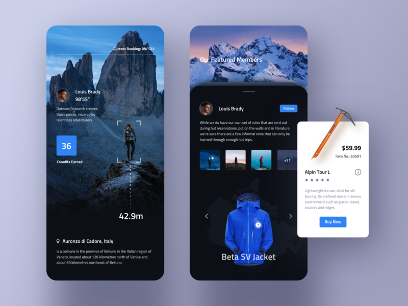 Climber club app location ios product store price ar card details video design gallery clean ui profile mobile app