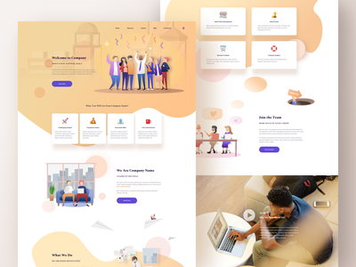 Company Rebranding Website feature about calendar studio career list contact branding startup agency technology coporation card icon yellow fresh illustration website web business