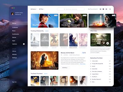 Media store idea - Movies itunes web clean details video profile ui player music tv list media menu movie store app